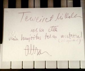 """Okko Kamun terveiset 9-vuotiaalle Millalle, jolle äiti toivoi hieman enemmän intoa pianonsoittoon. """"Terveiset Millalle, muista että harjoittelu tekee mestarin (väsyneeksi)"""