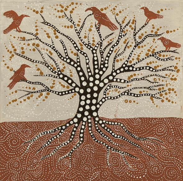 Aborginaalitaidetta: elämänpuu ja korpit, molemmista puhutaan kirjassa.