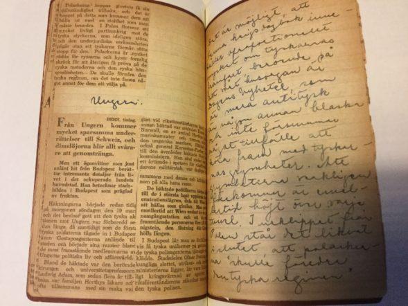 Kirjan kuvituksena päiväkirjan aukeama, lehtileikkeitä ja Astrid Lindgrenin säännöllisellä käsialallaan kirjaamia havaintoja.